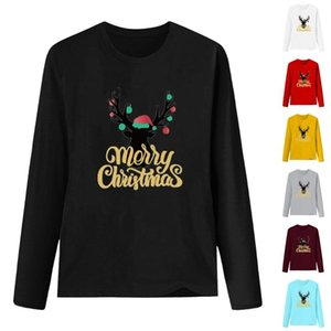 2020 women's new Christmas elk print crew neck pullover tops comfortable and soft casual fashion best-selling Suitable for falls