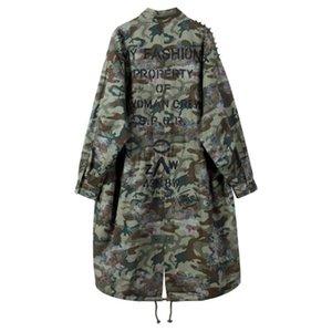 Sherhure 2020 Patches Camouflage Print Übergröße Bomber Feminino Frauen Lange Herbstjacken Mantel Casaco