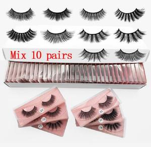 3D Mink Pestañas al por mayor 10 estilos 3d Mink Lashes natural grueso de las pestañas falsas del maquillaje de las pestañas postizas Extensión Granel envío