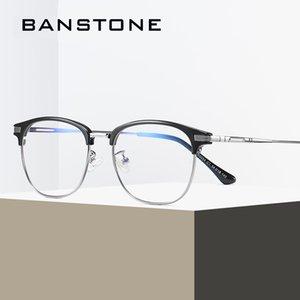 BANSTONE Design Homens TR90 óculos de armação Ultraleve Praça Eye Miopia Prescrição Óculos Homem Meio Optical Frame Oculos UV400