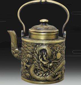 Factory wholesale distressed antique collection antique distressed antique brass bronze ware dragon play bead copper pot ornaments Qianlong