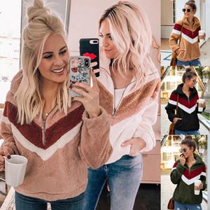Nadafair informal Fleece con capucha Mujeres 2020 remiendo cremallera piel de imitación de gran tamaño invierno mullido con capucha femenina más el tamaño de Jerseys