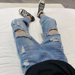 2020 Broken Hole ripped Straight light-colored blue & gray Jeans Korean Style Loose Trend All-match Youth Denim Pants 5XL