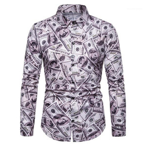Manches longues col Chemises Turn Costumes Designer Mens Apparel Tous Dollar Imprimer Mens Casual Shirts