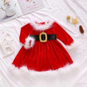 Tout-petits enfants Bébés filles automne Robes de Noël de Noël Princesse Party Dress Tenues Fleece Robe mignon pour le bébé d'hiver