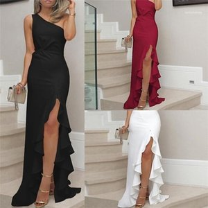 Females Sexy OL Bodycon Dress Ladies Ruffle High Split Dress Summer Designer Womens One Shoulder Knot Pleated Panelled Party Dresses