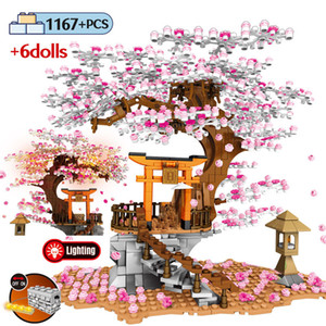 Sembo Street View Idea Shrine Ladrillos Sakura Stall Bricks City Friends Cherry Blossom Landscape House Tree Building Block Toys LJ200925