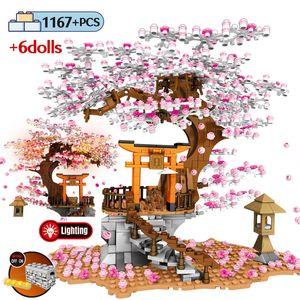 Sembo Street View Idea culto Mattoni Sakura stallo Mattoni Città Amici Cherry Blossom Paesaggio casa sull'albero Building Block Giocattoli LJ200925