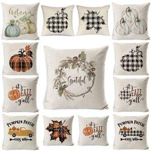 Halloween Pillow Case Pumpkin Sofa Throw Pillowcase Printed Pillow Cover Plaid Pillow Case Cover Pillowslip For Car Office Decor FF153