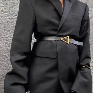 cintos de designer de luxo para as mulheres genuínos senhoras fivela cinto de couro triângulo de ouro cintura femme ceinture preto cós cinto 2020