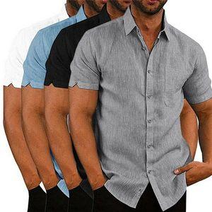Mens Linen Blouse à manches courtes Baggy Boutons d'été solide confortable pur coton et lin Casual vrac Chemises de vacances T-Tops