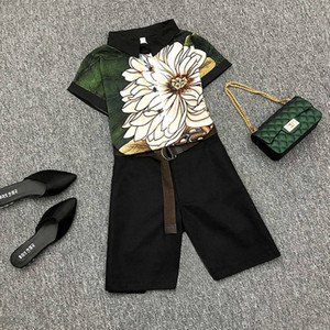 With Belt! Plus Size Womens Summer Casual Pants Sets Vintage Print Ladies Nice Short Sleeved Blouses+Shorts Pants Suits NS955