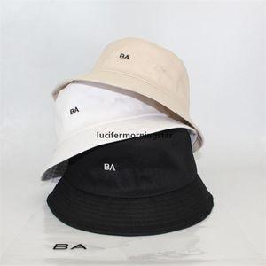 A005 Embroidery Letter Bucket Hat Cotton Fishing Hats B&A Summer Visor Cap Men Women Sunhat Trendy Desing Fisherman Hats Hip Hop Caps T