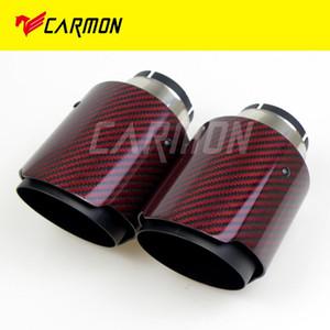 Red Glossy escape sarja Carbon Fiber Car Ponta Negra aço inoxidável silenciador cauda pipe para BMW BENZ AUDI Acessórios