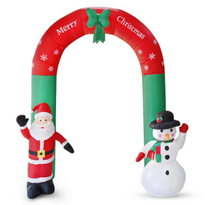 2.4m New Year Giant Arch Santa Claus Snowman Inflatable Garden Yard Archway Christmas Ornaments Xmas Festival Party Props Decor