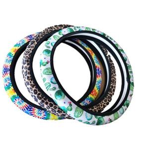 Direcção Neoprene Cover Car girassol Roda padrão universal para o partido do casamento de DIY Styling Decoração Anti-derrapante almofada Protector HHF1712