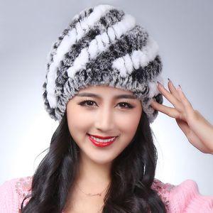 100% natural real rex fur cap lady winter naturalfur hat high quality women warm Beanies free shipping