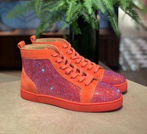 Beliebte Designer Strass Kalbsleder High Top Sneaker Red Bottom Männer Frauen Outdoor Sports Brand-Luxus-Partei-Hochzeit Trainer EU 35-47