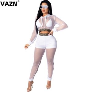 VAZN 2020 Autumn New Plus Size Open Lace See Through High Quality Hooded Full Sleeve Group Long Pants Skinny Women 2 Piece Set X0923