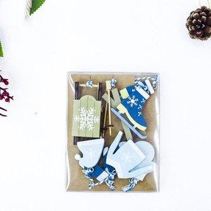 새로운 크리스마스 트리 나무 장식 태그 크리스마스 스키 복 펜던트 장식 작은 나무 상자를 2 종류 그린