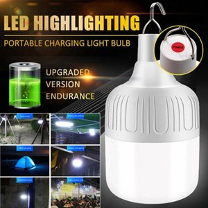 Rechargeable LED Bulb Lamp Solar Charge Dimmable Portable Emergency Night Market Light Outdoor Camping BBQ Hanging Night Light Lantern UtS6#