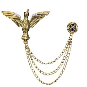 New Free Shipping fashion Men's all match male Europe brooch tassel metal chain star cross suit accessories pin angel wing badge