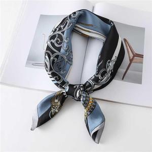 70cm Square Silk Scarf Design Print Foulard Neckerchief Bandana Female Hair Scarves Shawl Wraps Headband 2020 New