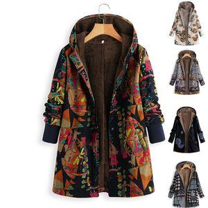 Женщины Vintage Сыпучего с капюшоном пальто Цветочного Printed Руно Подкладка застегнутого большого размером зима теплой Parka Повседневная Верхняя одеждой Ветровка