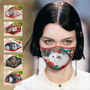 3D Navidad gatito impresión máscaras de algodón máscara de diseño máscara lavable polvo a prueba de polvo ultravioleta prueba de respirador montando ciclismo boca mascarillas