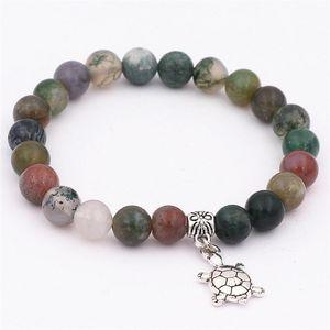 DGW Summer Beach Sea Turtles Tortoise Charm Bracelets Antique Animal Women Men Strand Elastic Bangles Black Jewelry Stone