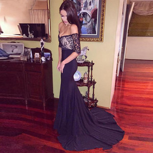 Sexy Black Lace Mermaid Evening Dresses Off the Shoulder 1 2 Sleeve Formal Prom Party Gowns with Sweep Train