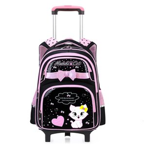 Gato de la historieta muchachas de los bolsos de la carretilla morral de la escuela de los niños a prueba de agua mochilas con ruedas quatily los niños del bolso de escolar