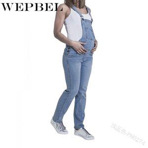 Maternidad Casual Denim Mono Embarazo de WEPBEL mujeres embarazadas Trajes de pantalones largos ropa transpirable mamá Jeans pantalones del babero
