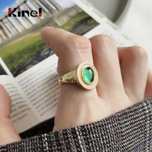 Кинель 925 перстней серебра Зеленого кристалла для женщин Vintage Корея кольца 18K Real Позолоченного Fine Jewelry