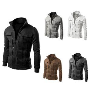 Hommes Pure Color Veste Slim Fit Cardigan Cardigan Mode Casual Contortissable Fermeture à glissière Chaud Veste Mâle manteau