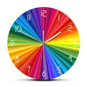 Bright Rainbow Ray Colorful Printed Wall Clock Rainbow Color Wheel Modern Abstract Home Decor Nursery Kid Room Silent Wall Watch