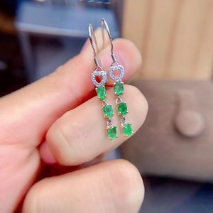 Real Natural Green Emerald gem earrings for beauty silver jewelry birthday party gift Earring
