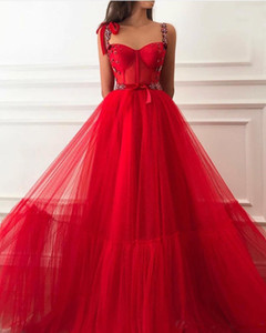 Red Beading Evening Dresses 2020 Beaded Straps Boning Bodic Tulle Islamic Dubai Saudi Arabic Long Formal Prom Party Gowns With Belt