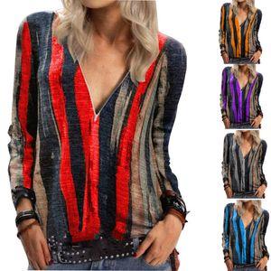Leosoxs Sexy Deep V Neck Long Sleeve Stripe Women's T Shirt 2020 New Fashion Tops Zipper Spring Sutumn Ladies T Shirts Splu Size