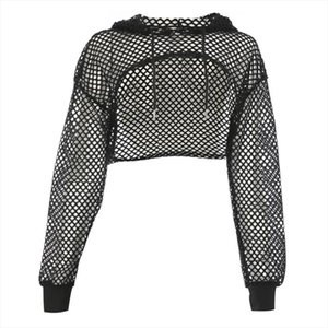 Women Black Fishnet Hoodie Summer Autumn Long Sleeve See Through Mesh Cropped Top Loose High Low Streetwear Hooded Sweatshirts