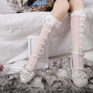 INS New Girls Lolita Lace Socks Kids Love Heart Hollow Socks Cosplay Children Handmade Bows Lace Ruffle Princess Dress Sock A4326