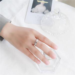 Sodrov S925 Sterling argento anello di apertura anello di collegamento semplice stile giapponese e coreano arte creativa trama