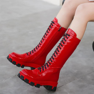 Sexy kniehohe Stiefel Frauen-Schuh-Plattform Lace Up Fashion Combat Boots für Frauen Rot Weiß beiläufige Winter-Schuhe Frau zogeer