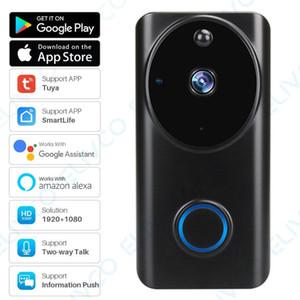 1080P Vídeo Doorbell Tuya inteligente WiFi Vídeo Intercom Informações do telefone Empurre Campainhas Home Security Monitor de Night Vision Camera