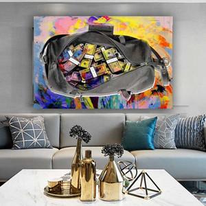 Холст Картина Закрепить мешок масляной живописи Денег плакатов и печать Wall Art Picture For Living Room Home Decor без рамки