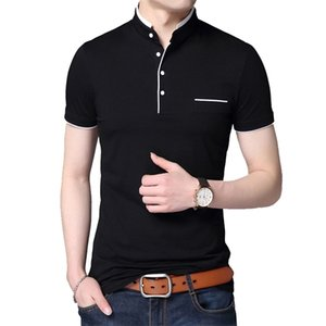 BROWON 2020 Fashion Men T-shirt Summer Short Sleeve T-shirt Stand Collar Solid Slim T-shirt Men Cotton Tops Tees Plus Size 5XL 0921