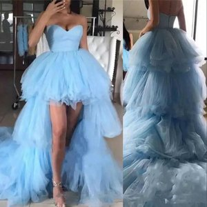 New Vintage Light Sky Blue Prom Dresses Sweetheart Tulle Tiered High Low Ball Gown Formal Evening Dress Wear Graduation Cocktail Party Gowns