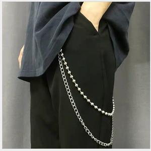 2 capas llavero gran anillo colgante de la calle roca del Pantalones Jeans Cadenas Pantalón Jean Llavero de Hip Hop Accesorios de joyería