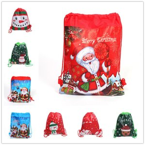 Christmas Drawstring Bag Cartoon Purses Xmas Kids Candy Gifts Storage Totes Shoulder Bag Sports BackPacks Santa Elk Snowman Print GWB1866