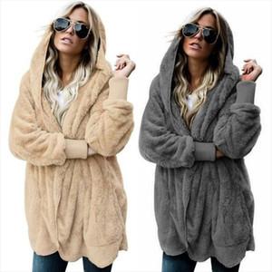 Autumn Winter Jacket Female Coat Causal Soft Hooded Pocket Fleece Plush Warm Plus Size Faux Fur Fluffy Women Jacket